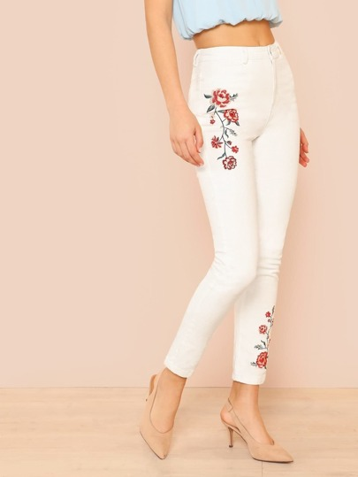 Skinny Leg Jeans with Rose Embroidery IVORY