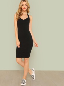 Slim Racerback Rib Knit Dress ROMWE