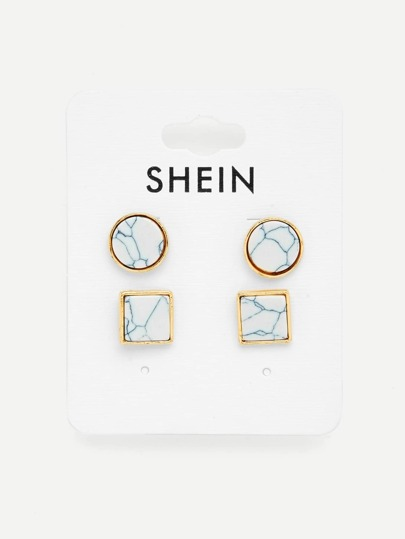 Geometric Design Stud Earring Set