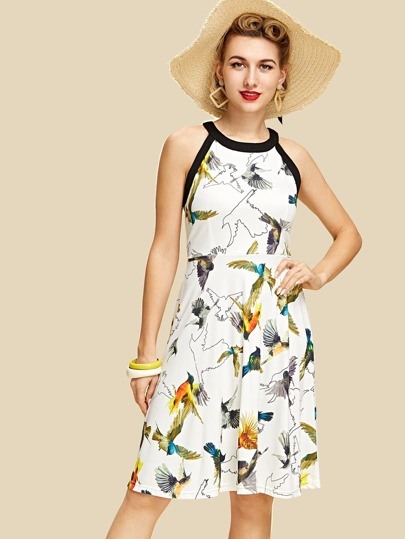 Contrast Binding Allover Bird Print Flare Dress