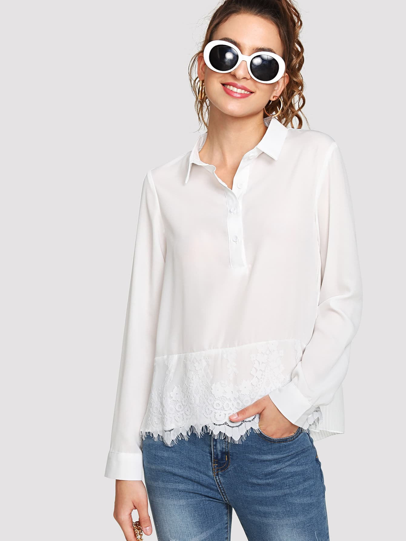 Eyelash Lace Insert Button Detail Top pearl detail layered frill sleeve top