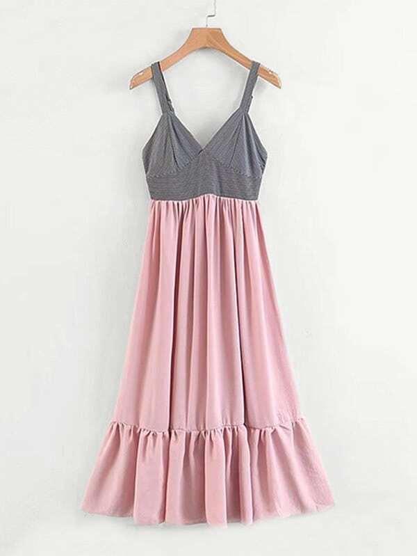 Contrast Stripe Ruffle Hem Dress