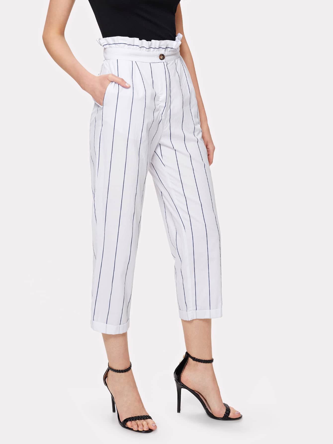 Ruffle Waist Cuffed Hem Striped Pants scallop waist ruffle hem crop pants