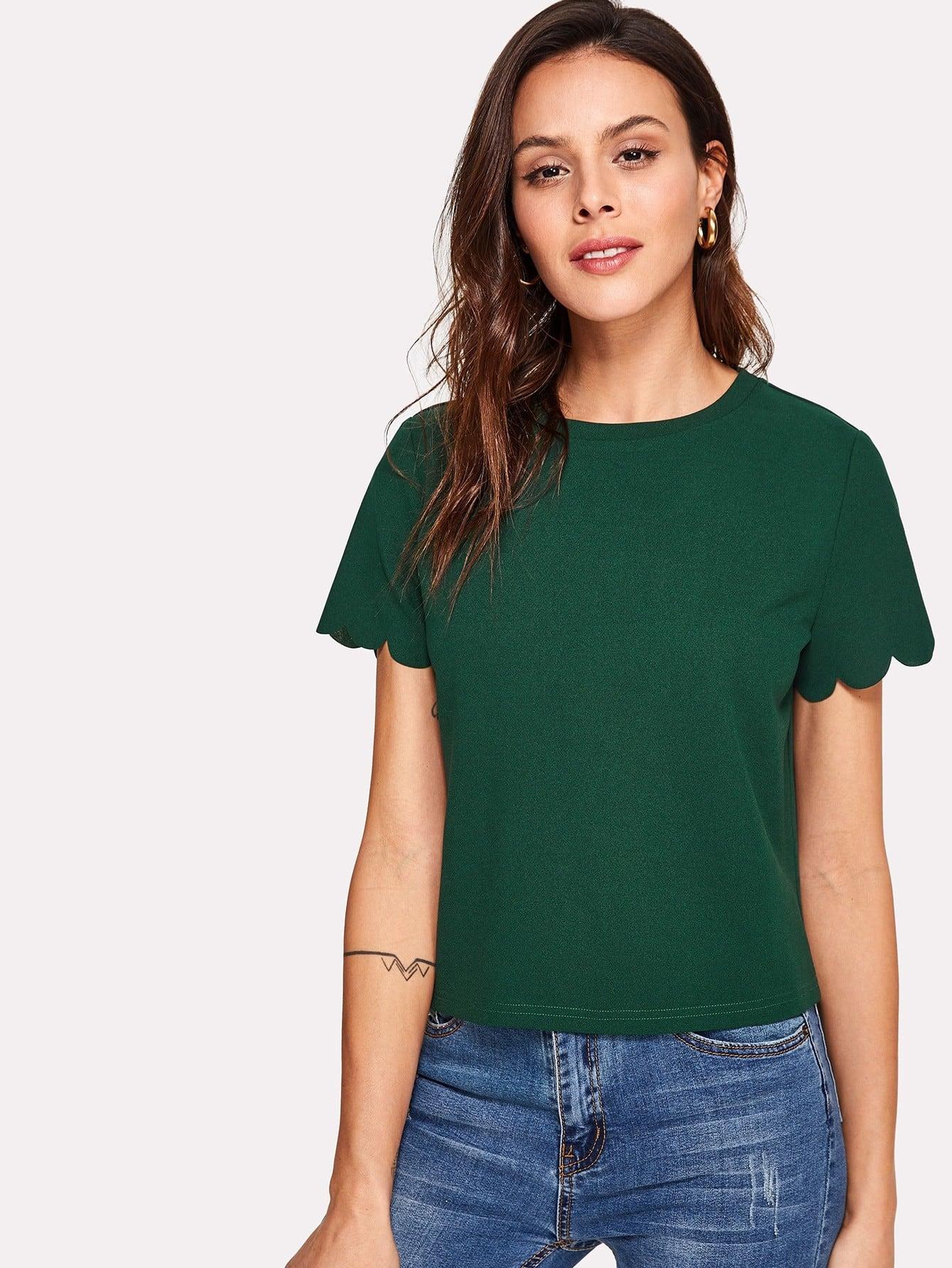 Купить Модная футболка с фестонами, Karla, SheIn