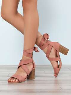Faux Suede Ankle Wrap Strappy Chunky Heel MAUVE
