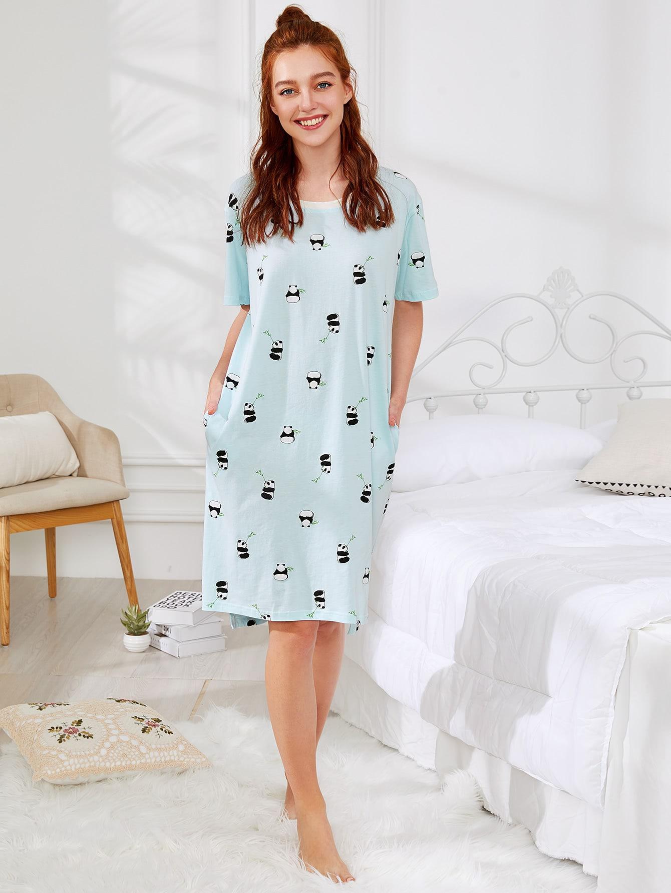 Panda Print Hidden Pocket High Low Nightdress exmork 100 вт 12 в poly si
