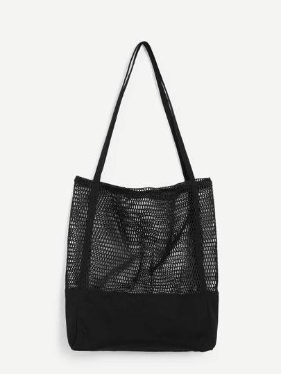Mesh Detail Canvas Tote Bag