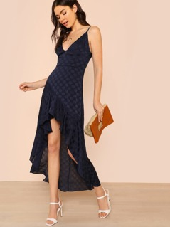 Flounce Hem Polka Dot High Low Dress NAVY