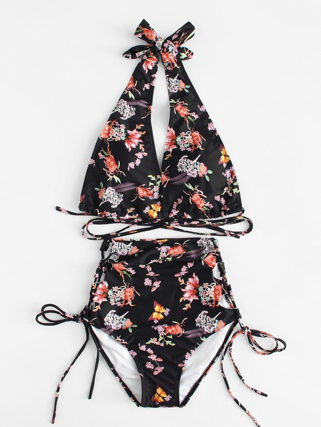 Flower Print Self Tie Bikini Set