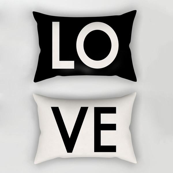 Letter Print Pillowcase 1pair