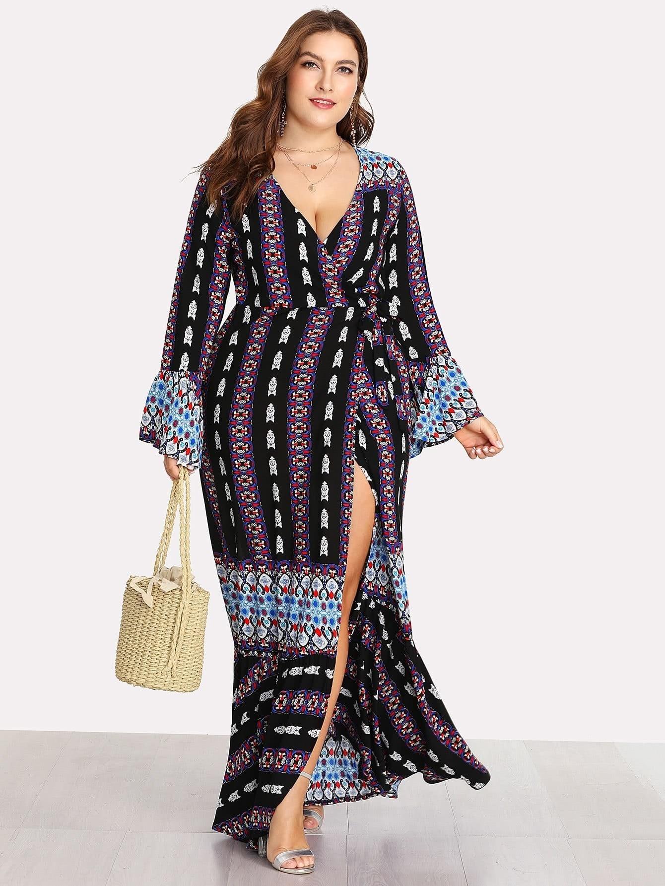 Deep V Neckline Fluted Sleeve Geo Print Dress v notch pearl leaf chain detail fluted sleeve dress