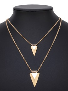 Double Triangle Pendant Layered Chain Necklace