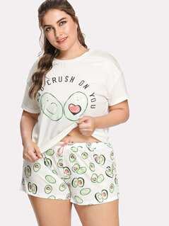 Plus Avocado Print Top And Bow Front Shorts Pajama Set