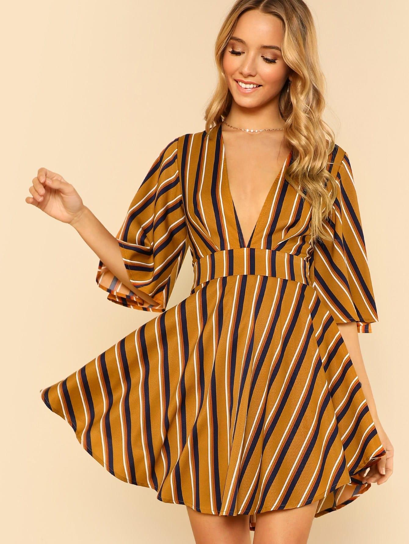 Bell Sleeve Plunging Curved Hem Dress gathered sleeve curved dip hem gingham dress