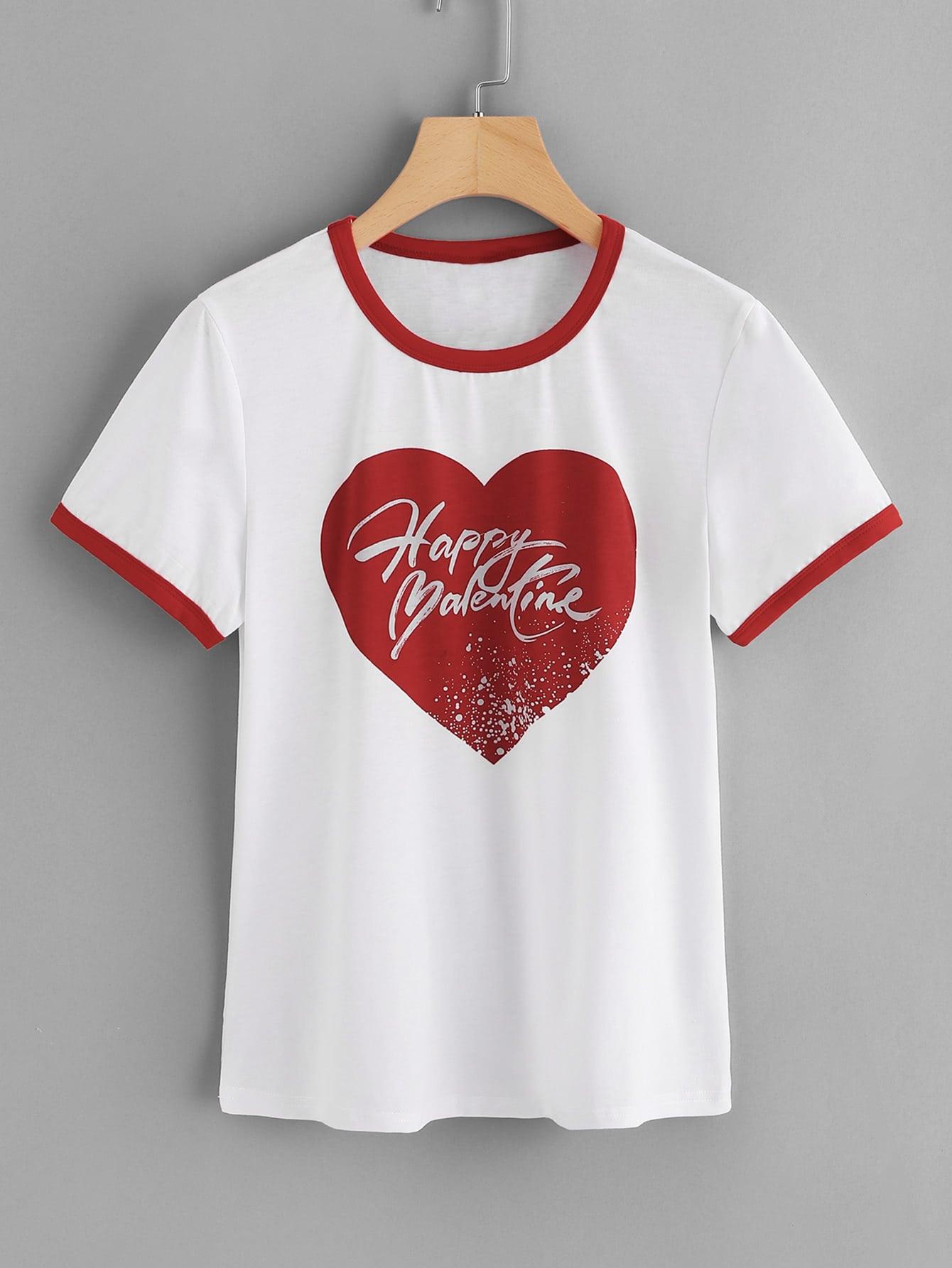Heart Print Ringer T-shirt letter print ringer t shirt
