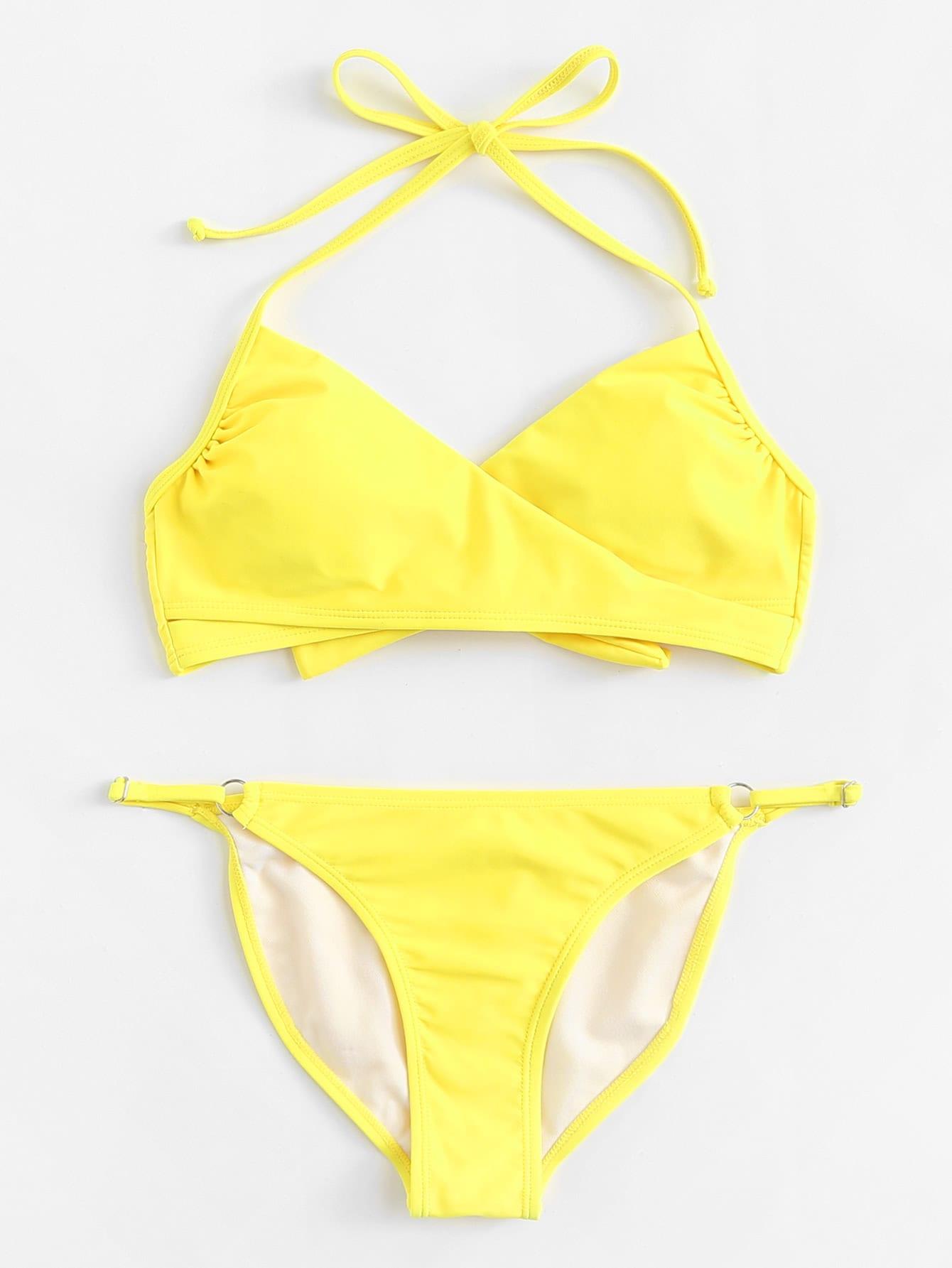 Knot Back Solid Wrap Bikini Set knot back solid bikini set
