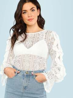 Lace Blouse with Ruffle Sleeves OFF WHITE