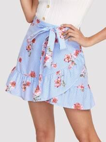 Stripe And Flower Print Overlap Ruffle Skirt