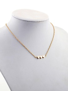 Three Heart Detail Chain Necklace