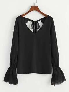 Tie Back Lace Trim V Neck Top