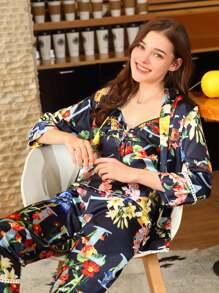 Floral Print Cami Pajama Set With Robe