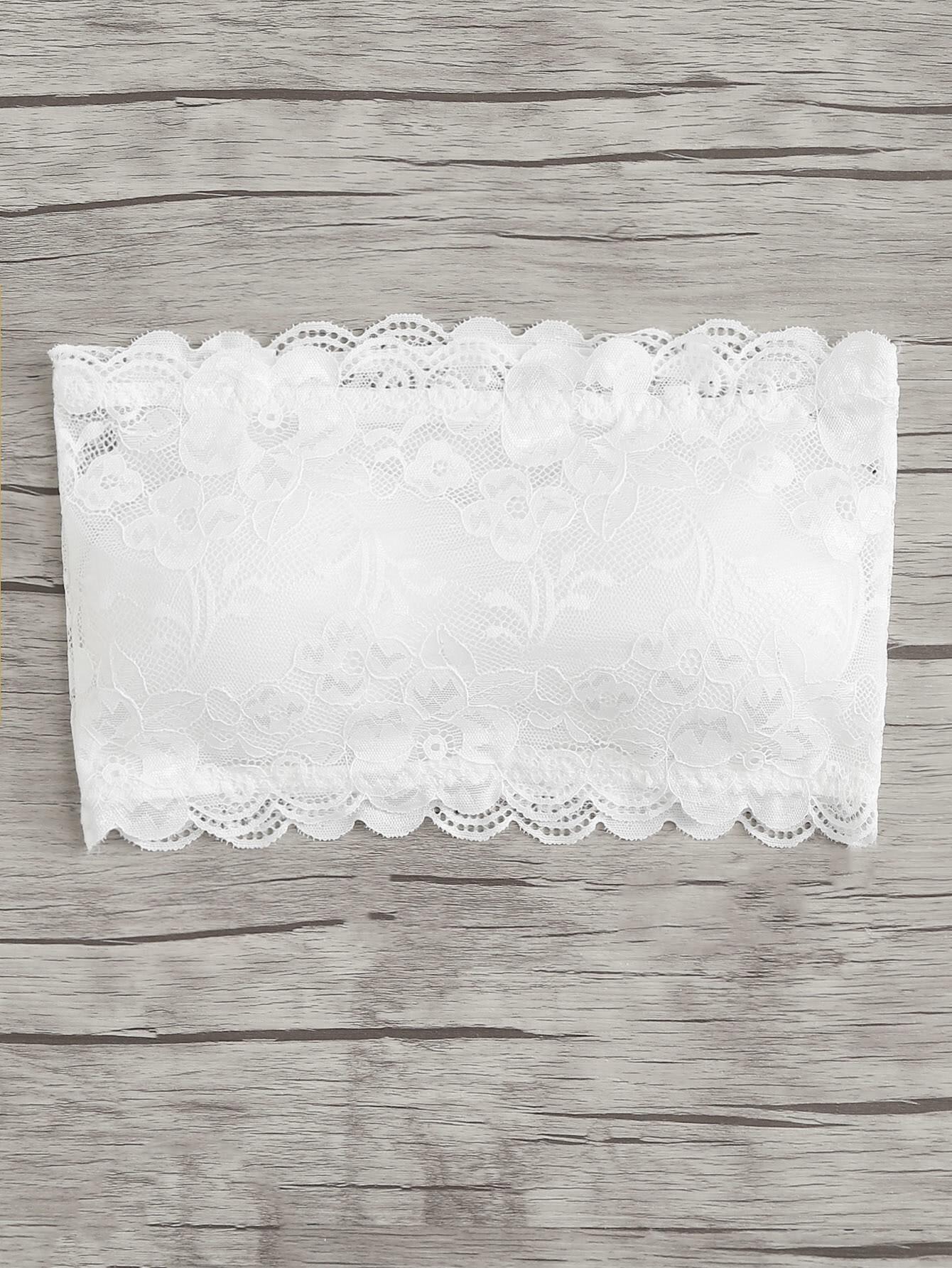 Scalloped Trim Lace Bandeau Bra scalloped corssover lace bra