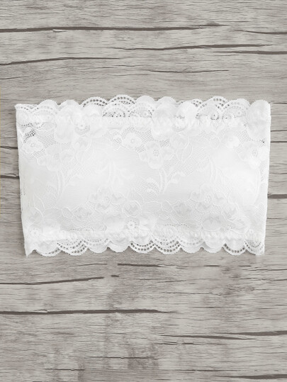 Scalloped Trim Lace Bandeau Bra