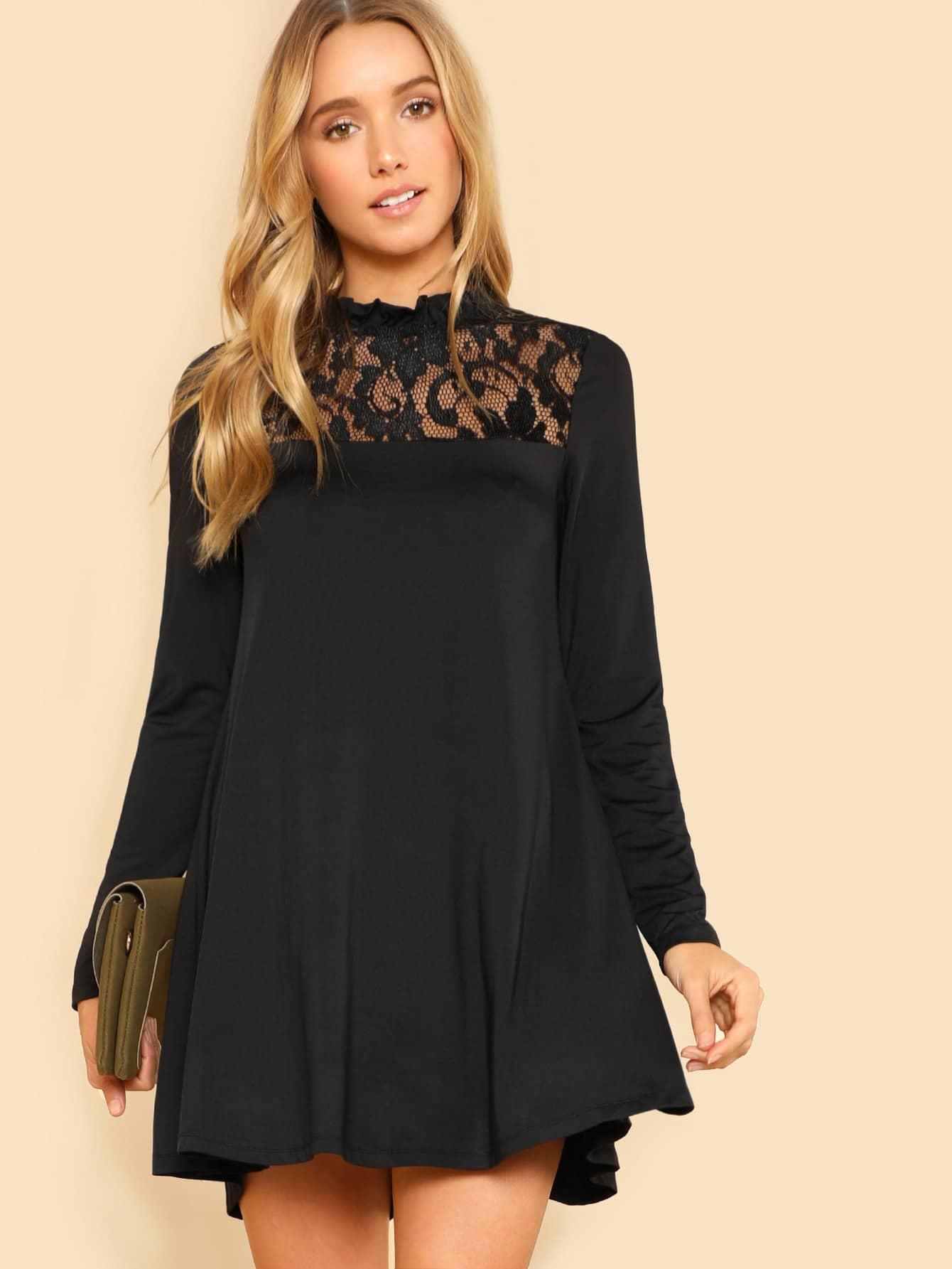 Lace Panel Swing Dress lace velvet swing dress