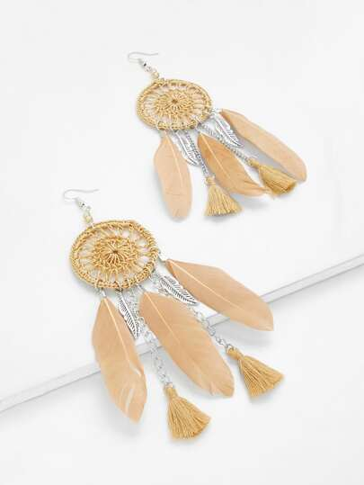 Dreamcatcher Drop Earrings With Tassel