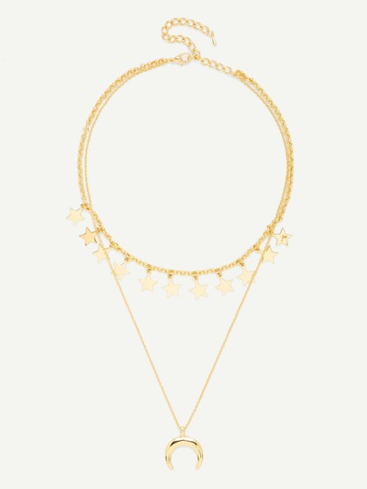 Moon Pendant Link Necklace With Star Charm