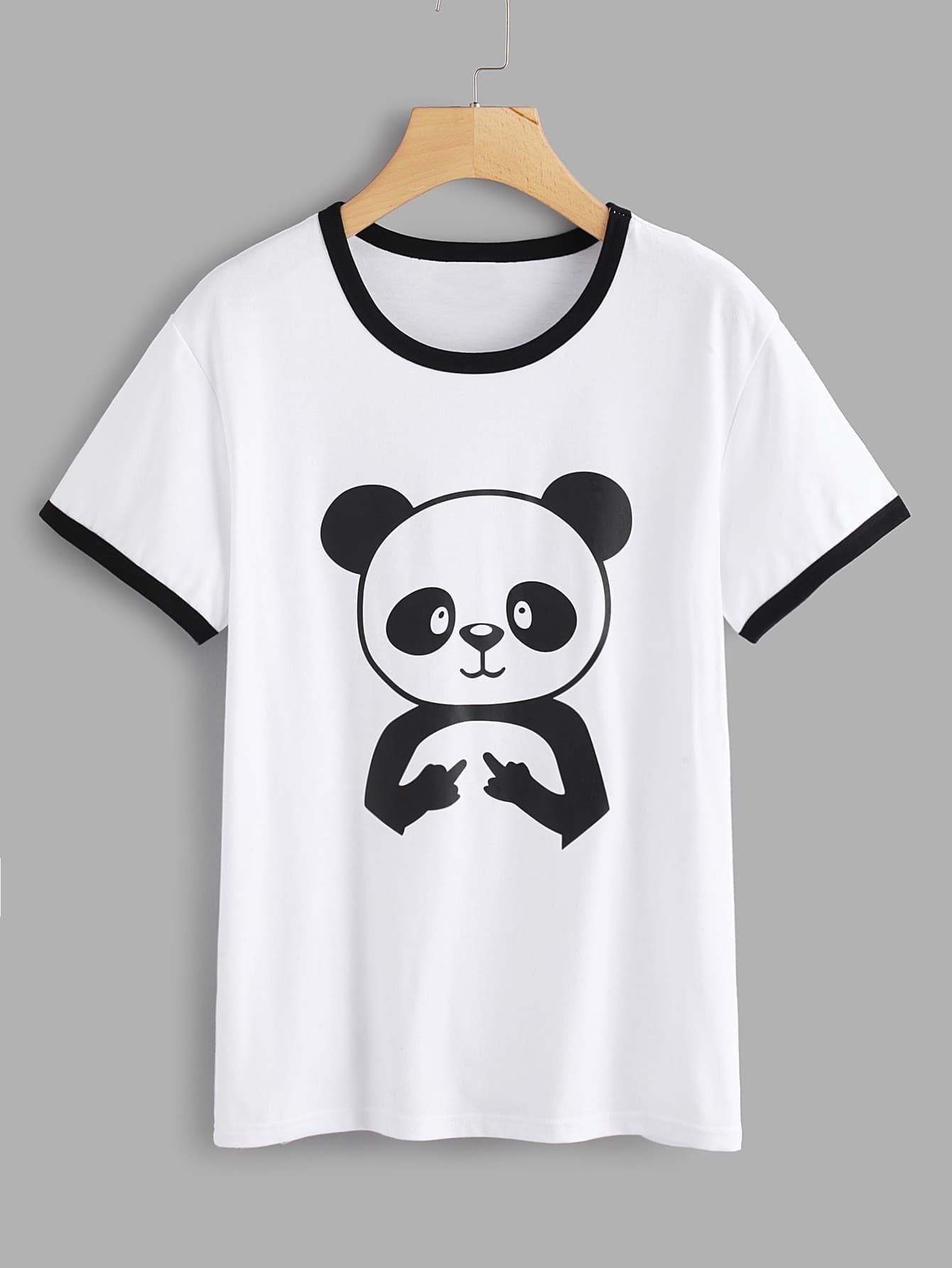 Contrast Trim Panda Print Tee contrast striped trim camo print tee