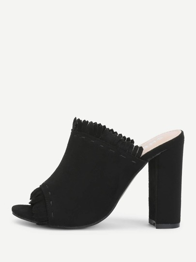 Fringe Detail Block Heeled Pumps