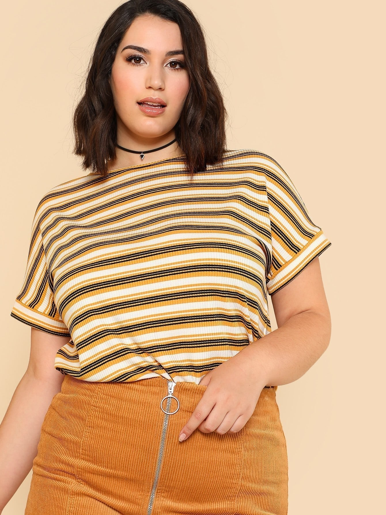 Rib Knit Striped T-shirt cutout front rib knit t shirt
