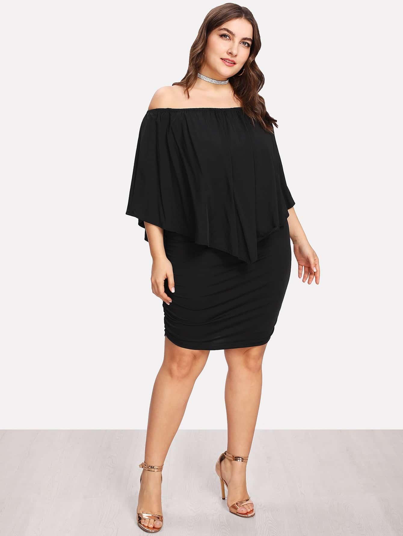 Plus Bardot Ruched Detail Ruffle Dress