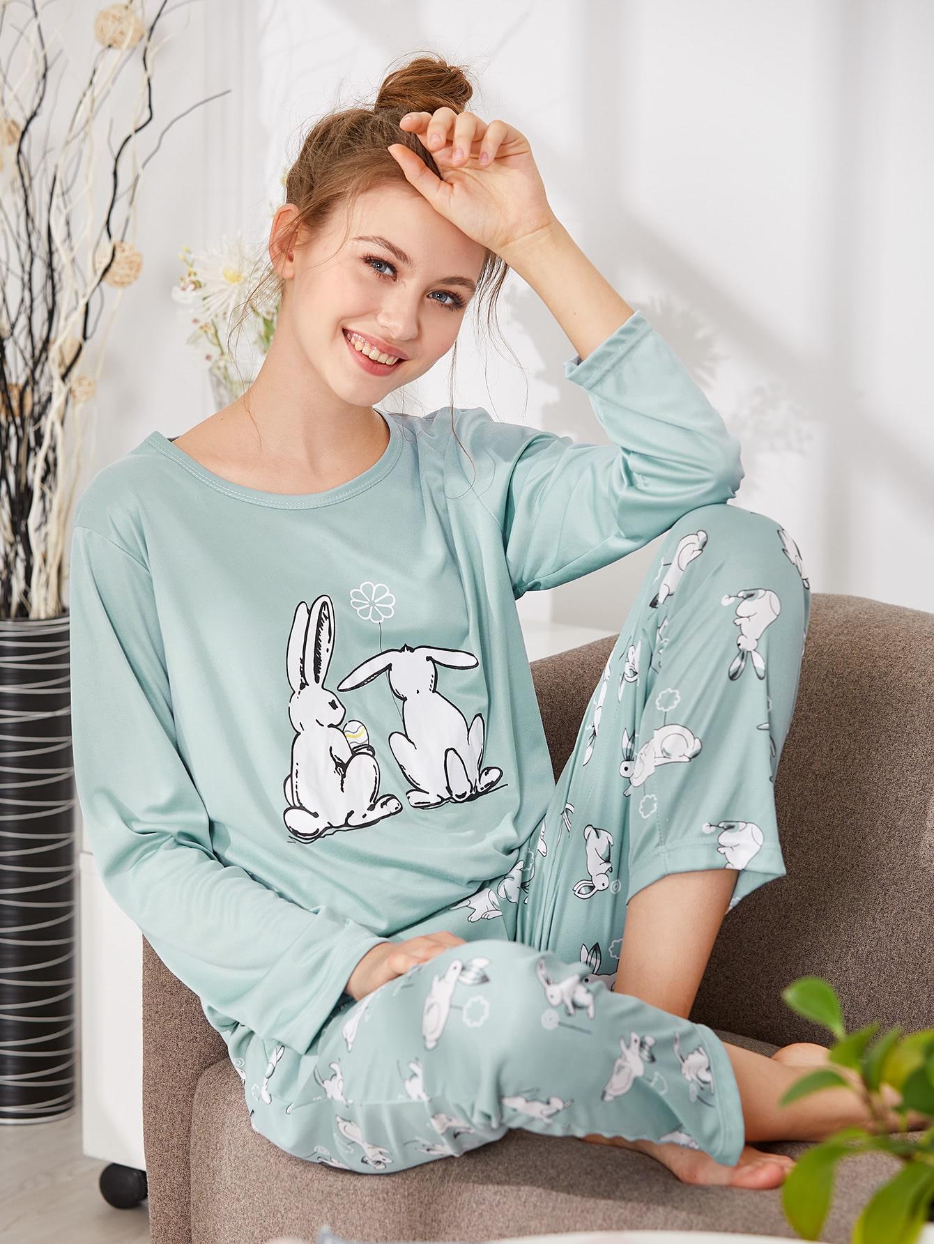 Rabbit Print Tee & Pants PJ Set rabbit print pullover