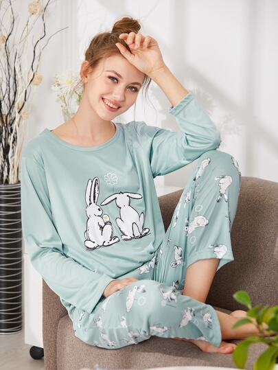 Rabbit Print Tee & Pants PJ Set
