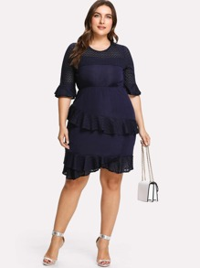 Lace Panel Ruffle Trim Dress
