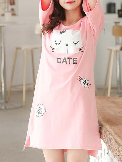 Split Side Cat Print Dress