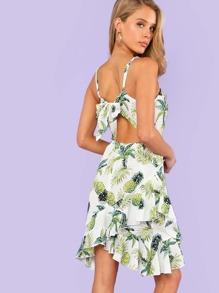 Knot Back Asymmetrical Ruffle Hem Tropical Cami Dress