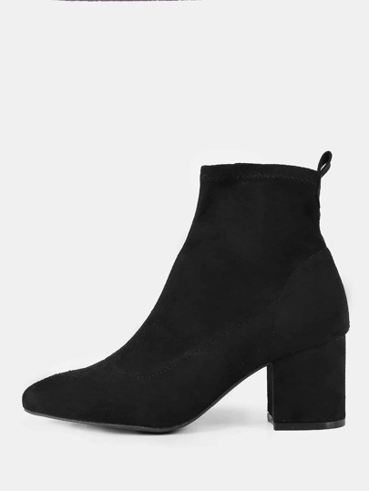 Faux Suede Pointy Toe Booties BLACK