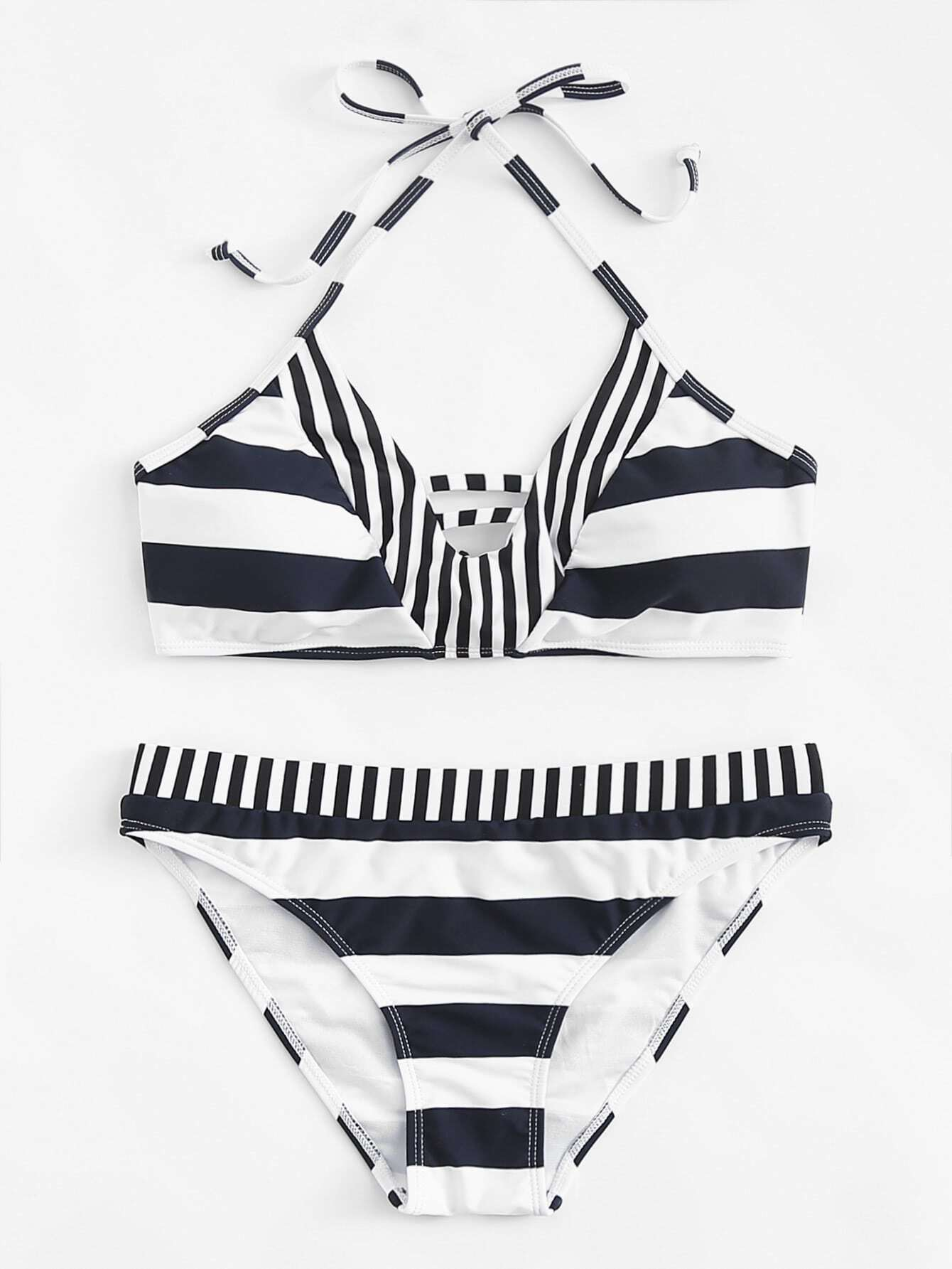 Knot Back Mixed Striped Bikini Set