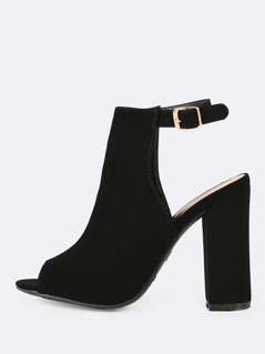 Peep Toe Ankle Strap Chunky Mule Heel BLACK