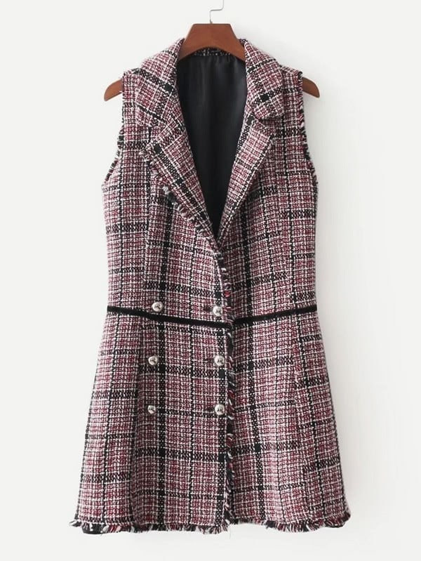 Double Breasted Tweed Vest