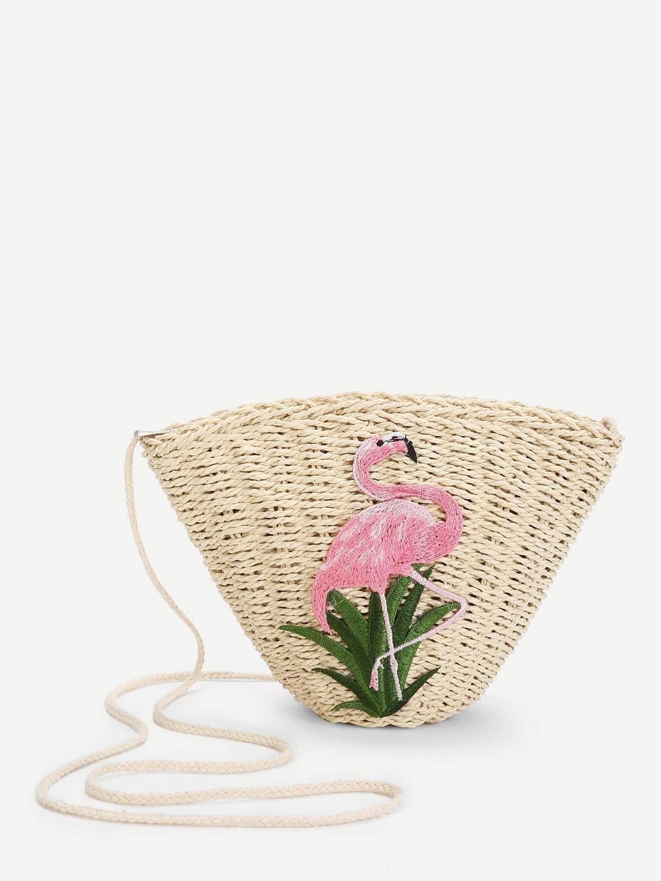 Flamingo Pattern Straw Tote Bag straw flamingo embroidered tote bag