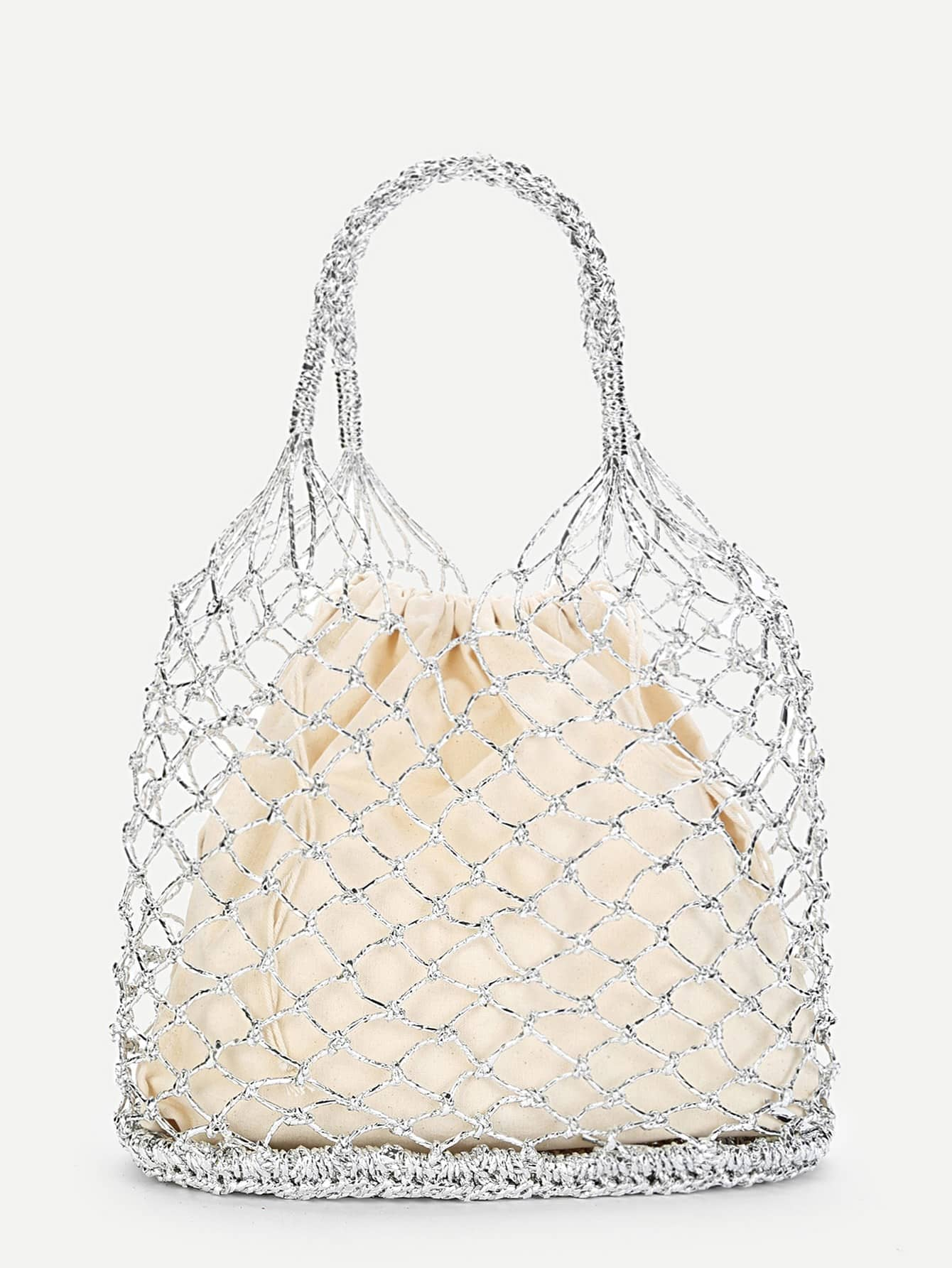 Double Ring Handle Woven Bag woven bag with double handle