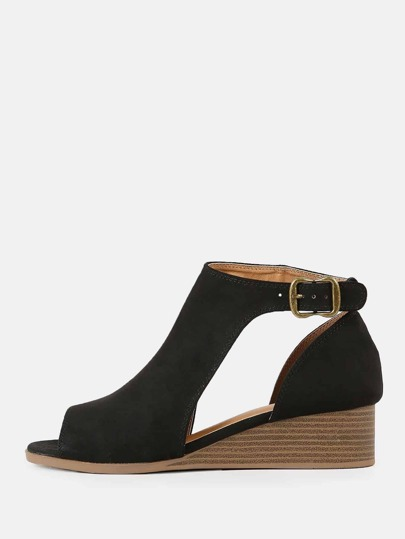 Faux Suede Peep Toe Cut Out Wedge Bootie BLACK