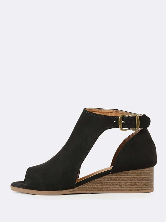 a5c3bc76742a Faux Suede Peep Toe Cut Out Wedge Bootie BLACK