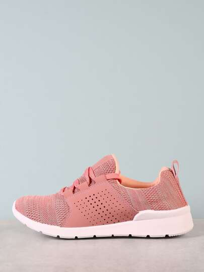 Lace Up Sneakers with Knit Design MAUVE