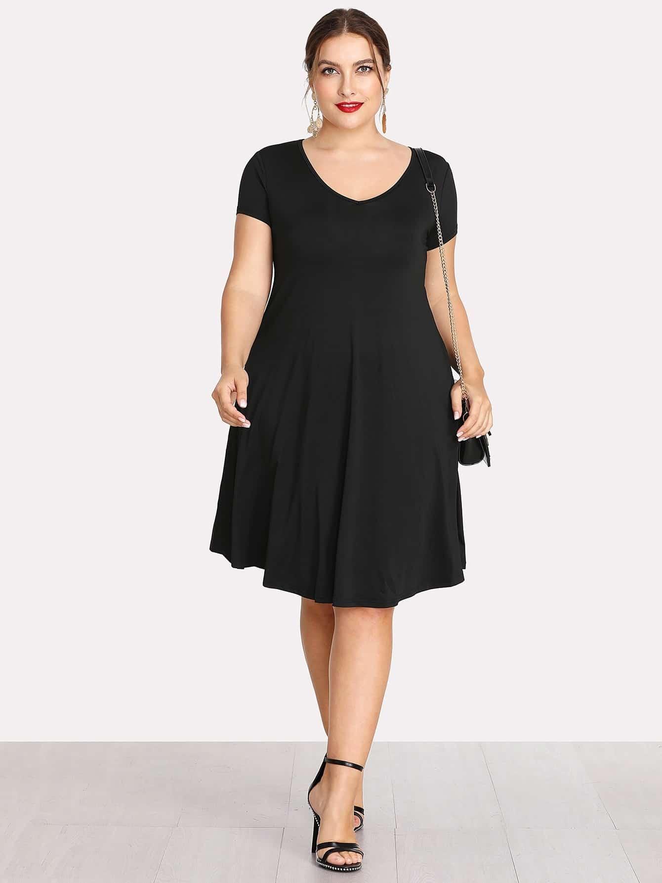 V Neckline Basic Dress