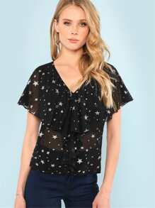 Flounce Embellished Star Print Chiffon Blouse